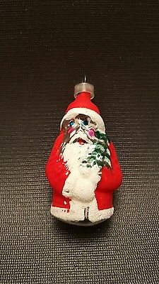 "Vintage Mercury Glass Ornament ""Santa with Tree"" possibly German (lot 1)"