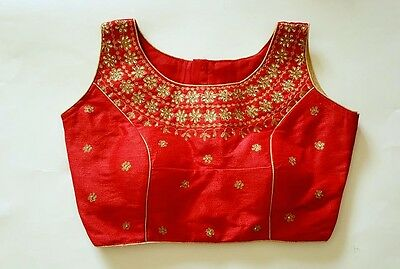 USA Red Saree blouse Ready made stone work embroidered