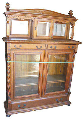 Victorian Oak 2 Door Bookcase