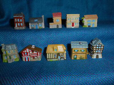 HOUSES FRENCH REGIONS Set of 10 Min Figurines Epiphany Porcelain FEVES Figures