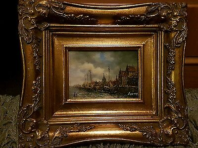 Antique oil painting Ships Signed