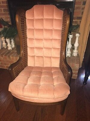 Vintage Hollywood Regency / Mid Century Modern / Blush & Cane Wingback Chair