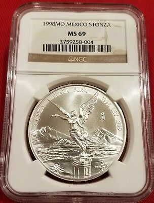 Mexico 1998 LIBERTAD ONZA 1.0 OZ .999 NGC MS69 Exceptional Coin! Lowest Mintage!