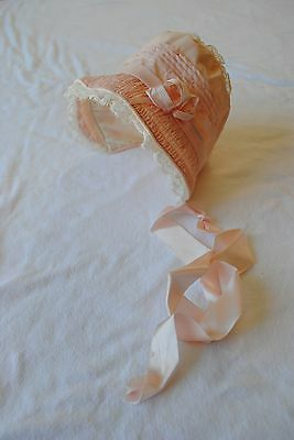 Pink Satin Embroidered Baby Bonnet 1950s Nice Condition Minor TLC
