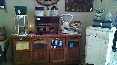 Antique Oak 4 Bin Walker Seed Bean Country Store Counter