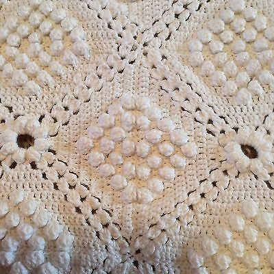 Antique Ivory Crochet Popcorn Stitch Throw Bed Coverlet