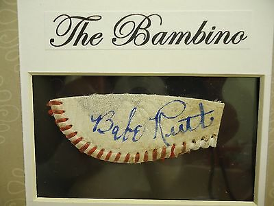 The Bambino - Babe Ruth NOVELTY cut autographed baseball with photo, 8 x 10!!!
