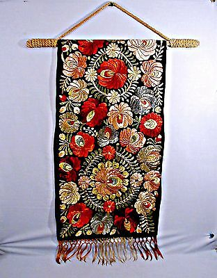 Vintage Antique  Hand Embroidered Wall Panel Colorful Exotic Flowers