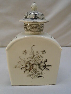 18th c Chinese Export Grisaille Decorated Tea Caddy
