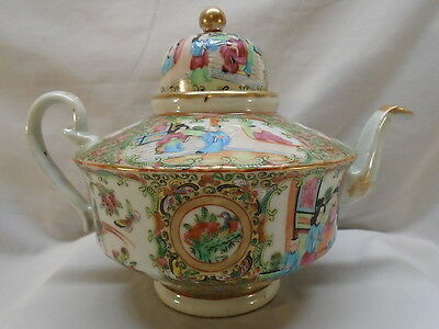 Early Chinese Export Famille Rose Medallion Canton Large Teapot