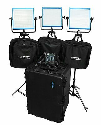 Dracast DRPL-NRK-T-CK Newsroom Plus Tungsten 3-Light Complete Kit (Blue)!