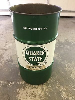 Quaker State Oil Can Drum Barrel Add To Porcelain Sign Collection