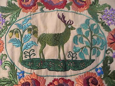 Vintage Silk Embroidery PIllow Sham Cover Stag  Fabric  Antique