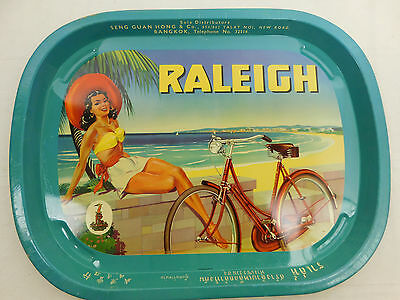 "Vintage RALEIGH Bicycles Advertisement Tray from Bangkok Thailand 16"" X 12.5"" A+"