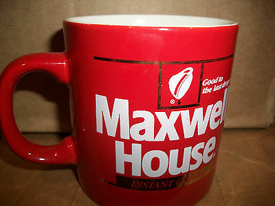 Maxwell House Coffee Mug Vintage Red Cup Instant FPC Good to the last drop