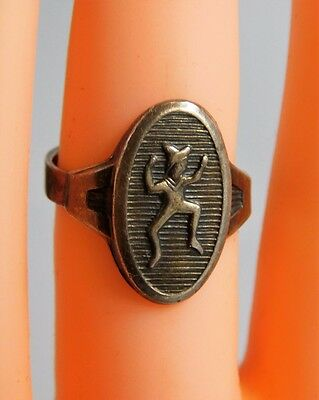 Vtg Sterling Silver Robbins Elf GIRL Scout Brownie Adjustable Sizing Ring