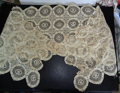 "VICTORIAN circa 1900 LACE DOILY Flower Design Table Runner 68"" x 18"""