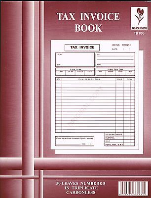 10 Tax Invoice Books TB863: 50 Leaves Numbered  in Triplicate Carbonless