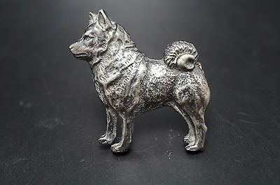 VTG Silver Metal NORWEGIAN ELKHOUND Dog Pin Jewelry