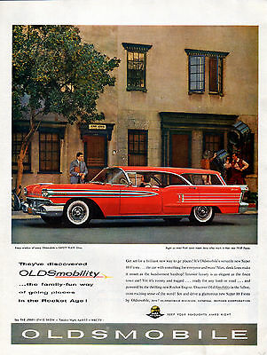 1958 Oldsmobile Car Ad ---Fiesta Wagon -Endorsed by Jerry Lewis -v618