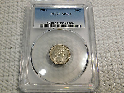 1903 10C Barber/Liberty Head Dime Certified PCGS MS63 Lustrous Look