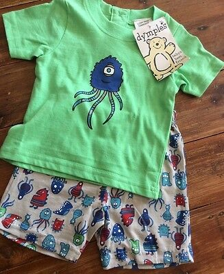 Bnwt Baby Boy Pjs Shorts Set Size 000 Monsters Dymples Top Tshirts Shorts