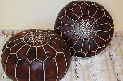 Pair (2) of Brand NEW Moroccan Leather Ottoman Pouffe Pouf Footstool In Dark Tan