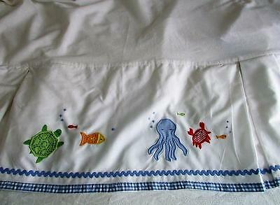 POTTERY BARN KIDS Tailored Under the Sea CRIB Bed Skirt Crab Octopus Gingham