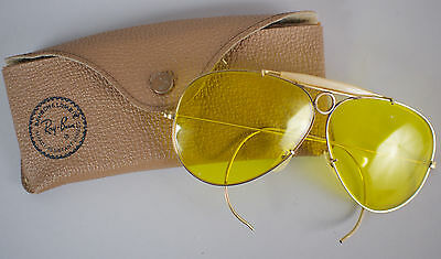 Vintage 70s Ray Ban Kalichrome Aviator Shooter Sunglasses & Case - 10k GO - 1/30