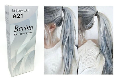 Berina A21 Hair Colour Permanent Cream Hair Dye Light Gray Silver A21