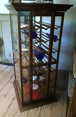 Antique Country Store Oak Ribbon Display Cabinet Case-Great Wine Cabinet!