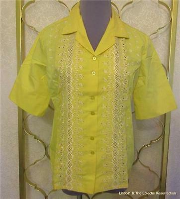 Vintage 1950s Embroidered Eyelet Short Sleeve Yellow Blouse Lady Lynn NOS M