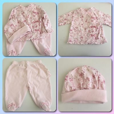 Miniclasix Baby Girls Pink Flower 3pc Outfit Shirt, Pants, Hat  3 Months