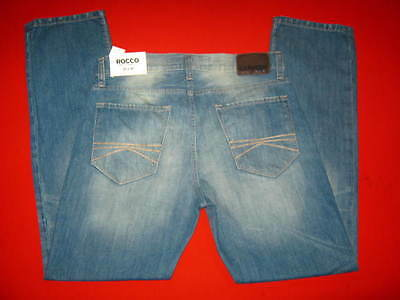 Mens New Express Blue Jeans Size 32 X 32 Slim Lowrise Straight Cut Rocco