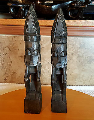 """2 Tribal Men Figures Black Hand Carved Wood Statue 16"""" Tall"""