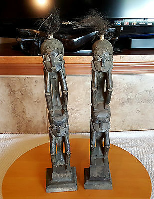 """Totem Pole Sitters Tribal Squatters 2 Black Carved Wood Figurines 22"""""""