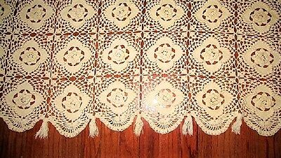 Vtg Antique Victorian Ivory Hand Crocheted Roses  Bedspread Coverlet W Tassels