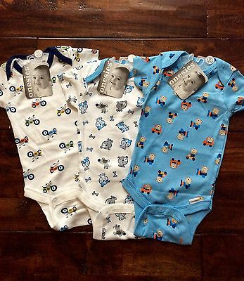 Lot of 3 Brand New Gerber Onesies for Baby Boy sizes 0-3 months & 3-6 months
