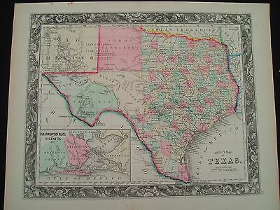 1860 Mitchell Map State of Texas Antique Rare First Edition