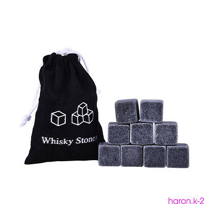 Granite Pouch Ice Cube Whisky Cubes Glacier Rocks Whiskey Stones Bulk Cooler x9