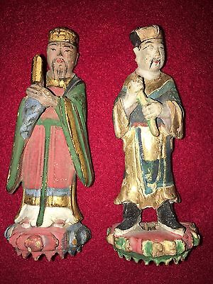 A Pair of Wooden Chinese Ming Period Funerary Attendants, Mounted