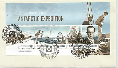 2014 Aat Australian Antarctic Expedition Set  Mini Sheet Fdc Cover