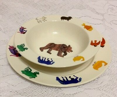 Lunt Pottery Barn Kid's Plate & Bowl Eric Carle Brown Bear What Do You See?