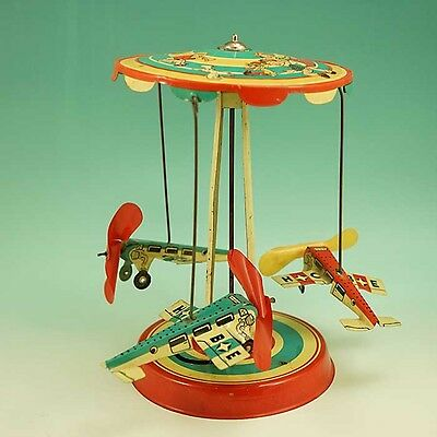 Original 1950s Hoch & Beckmann German Tin Toy Aeroplane Carousel US Zone Germany
