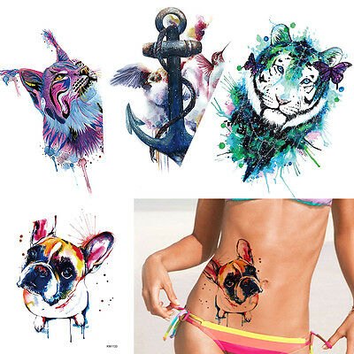 Colored Drawing Tiger Pattern Temporary Tattoo Stickers Fake Decal Back Body Art