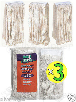 x 3 PCS • MOP HEAD #12 — HEAVY DUTY COTTON — QUALITY REPLACEMENT REFILL MOPHEAD