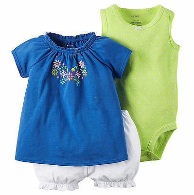 Carters 9 Months Baby Girl 3-Piece Blue Green Floral Top, Bodysuit & Shorts Set