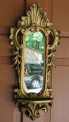 Antique Vtg Florentine Italian Tole  Carved Wood Gold Gilt Wall Mirror Rococo