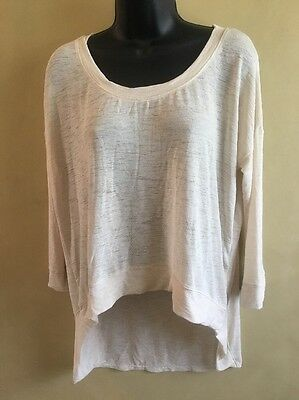 Free Press Beige Gauze Women's Top 3/4 Sleeve Dancewear Uneven Hem Medium