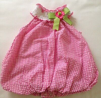 Rare Editions,  Infant Girls, One Piece,//Romper Size 6 months, PinkPlaid, Bow